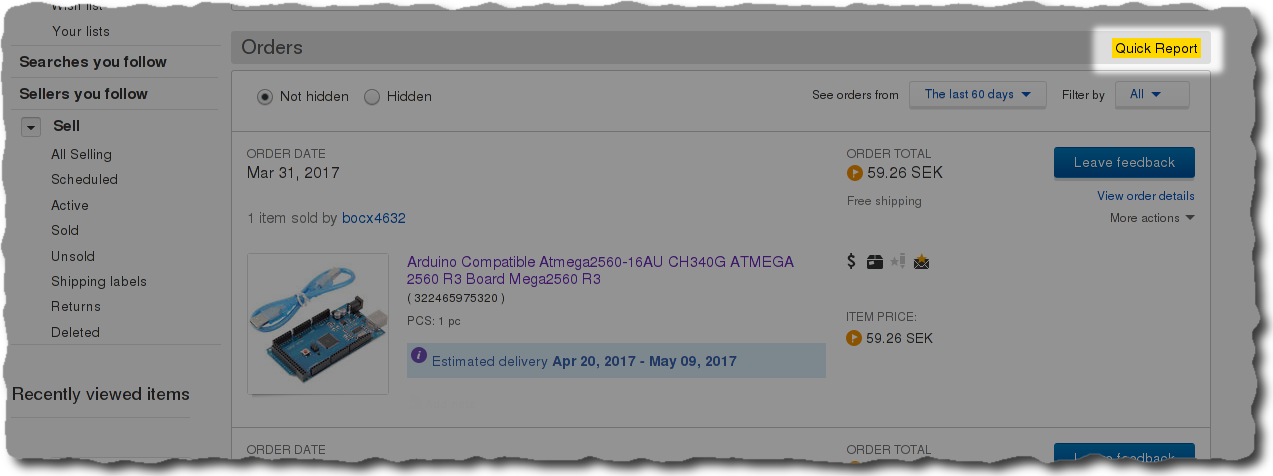 Query eBay purchase history