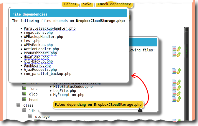 PHP file dependencies tree