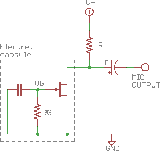 Simple electret microphone circuit